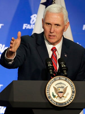 Vice President Mike Pence greets more than 200 employees at Blain's Fleet and Farm Distribution Center during a listening session March 3, 2017, with Wisconsin business leaders in Janesville, Wis. Pence also talked about The Indianapolis Star investigation into his private email account.
