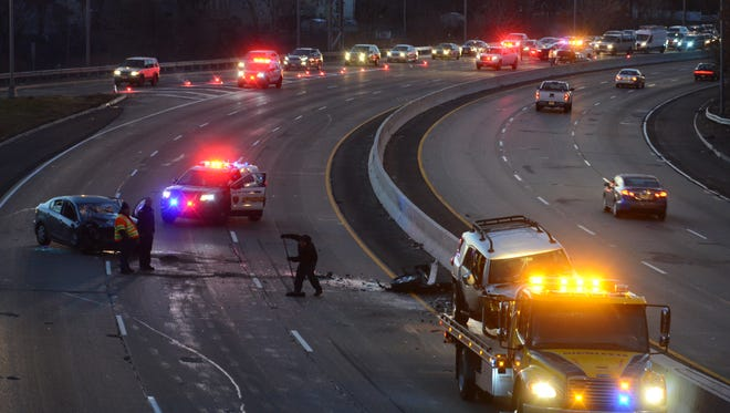 A wrong-way accident is causing traffic problems on Route 21 northbound in Clifton Friday morning on December 30, 2016. All northbound traffic is being diverted to Exit 10A.  Tariq Zehawi/NorthJersey.com