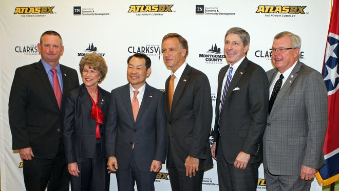 From the left, Montgomery County Mayor Jim Durrett, Clarksville Mayor Kim McMillan, AtlasBX CEO Ho Youl Pae, Gov. Bill Haslam, Tennessee ECD Commissioner Bob Rolfe, and Rep. Curtis Johnson at Wednesday's press conference to announce the new Atlas BX plant opening in 2020.