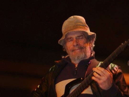 Merle Haggard in 2003, practicing at a home in Whitmore.