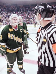 Vermont's Martin St. Louis yells at an official questioning the final goal in their 4-3 double overtime loss to Colorado in the 1996 Frozen Four in Cincinnati.