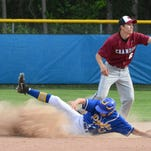 Oconto;'s Dylan Boucher slides safely into second base in the May 31 WIAA Baseball Tournament regional semi-final against Crandon.