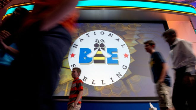 Spellers leave the stage during the 2105 Scripps National Spelling Bee.