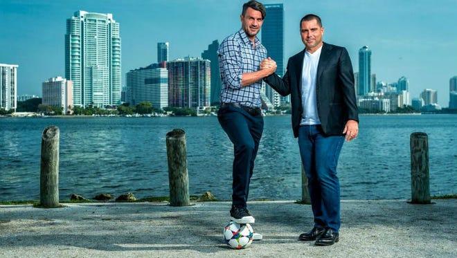 Riccardo Silva (right) and Italian national team legend Paolo Maldini (left) headline the Miami FC ownership group.