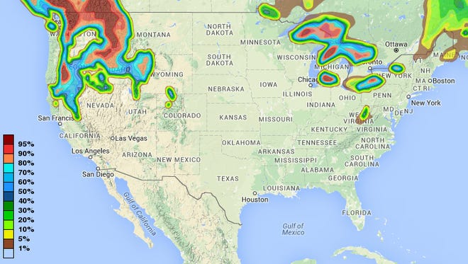 A map of the probability of snow in the United States from Dec. 18-19.