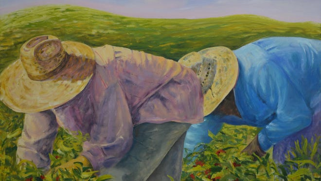 """""""The Day Continues,"""" artwork by Barbara Masterson on view in """"Farm Workers"""" at The Falcon in Marlboro."""