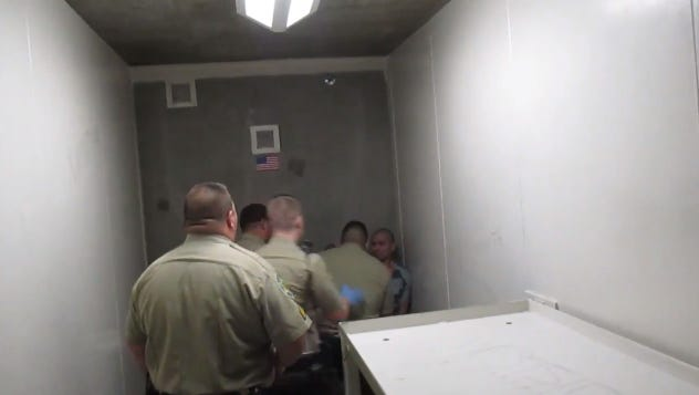 """The incident began when officers tried to move inmate Pedro Ramos to a different cell in the Fourth Avenue Jail in downtown Phoenix, after he was caught with """"Hooch,"""" a moonshine of sorts, according to records from the MCSO."""