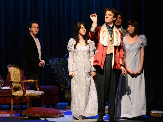 "Evan Smith (center) plays Lord Byron in ""And Lightning Struck: Mary Shelley and the Curse of Creation"" in a dress rehearsal on Tuesday night at the Simi Valley Cultural Arts Center. The show will open Feb. 10 and run through the 12th."