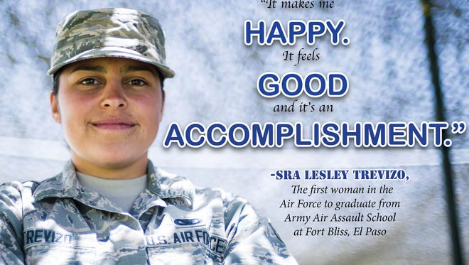 """Senior Airman Lesley Trevizo is the first woman in the Air Force to graduate from the Fort Bliss Army Air Assault School, Iron Training Detachment.  """"It feels good, and it's an accomplishment."""""""