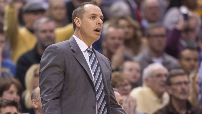 Indiana Pacers head coach Frank Vogel reacts to a call during the second half of an NBA basketball game, Tuesday, Jan. 26, 2016, at Bankers Life Fieldhouse in Indianapolis. The Clippers won, 91-89.