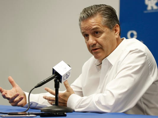 Kentucky head coach John Calipari speaks to the media during the team's Media Day on campus Thursday, Oct. 12, 2017, in Lexington, Ky. (AP Photo/James Crisp)