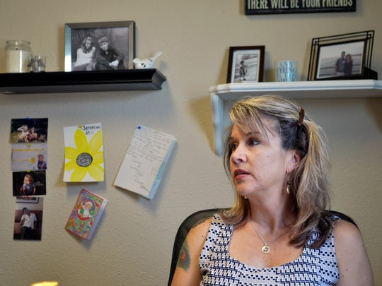 Jennifer Weiss-Burke, executive director of a youth recovery center in Albuquerque, N.M., speaks about her son on Aug. 9, 2016. She says Cameron's descent into drug addiction started with a painkiller prescription from his doctor and ended with a fatal heroin overdose nearly three years later.