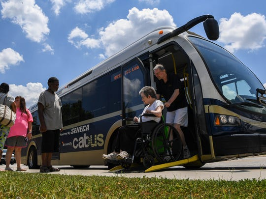 A catbus zero emission Seneca transit lets passengers off and on at Oconee Memorial Hospital in Seneca. The Greenville-based bus manufacturer Proterra, celebrated the city of Seneca for having the world's first all-electric fleet in February 2015.
