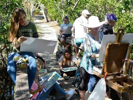 2017 Plein Air Day artists are at work in Martin County.