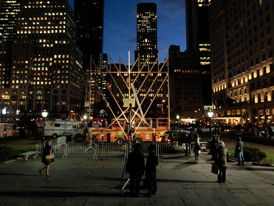 Billed as the World's Largest Hanukkah Menorah, the steel frame stands on Fifth Avenue and 59th Street across from Central Park and is lit each evening during to mark the Jewish holiday.