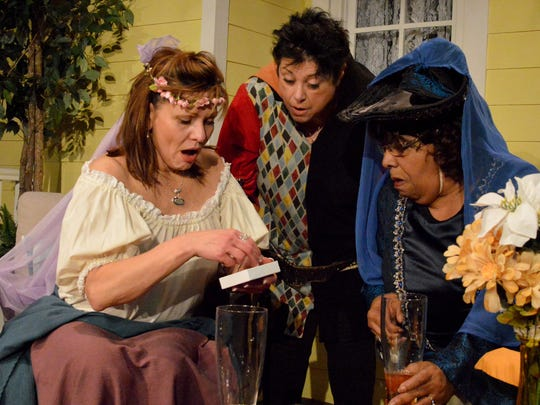 Jinx,, Marlafaye and Dot share a moment in 'the Savannah Sipping Society.' The actors are, from left: Michelle Romano, Dawn Varava and Connie Norwood.