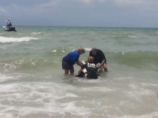 Marine officials rescue a baby dolphin that washed ashore during a storm on Friday, July 4 2014.
