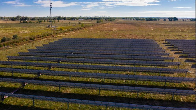 Black Hills Energy solar garden panels in Rocky Ford are pictured.