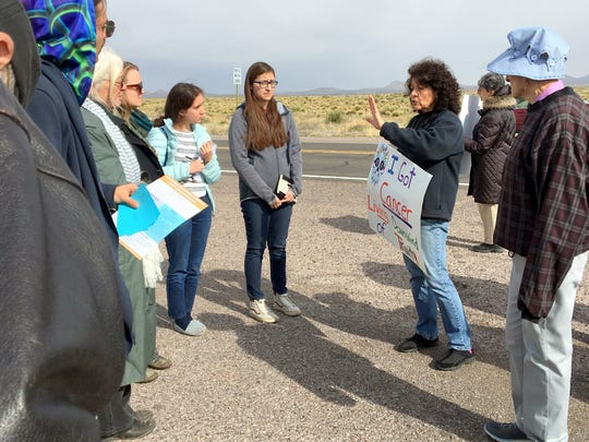 Tina Cordova talks to students about the legacy of the Trinity Site.