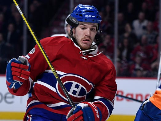 Feb. 23: Canadiens forward Andrew Shaw avoids the puck