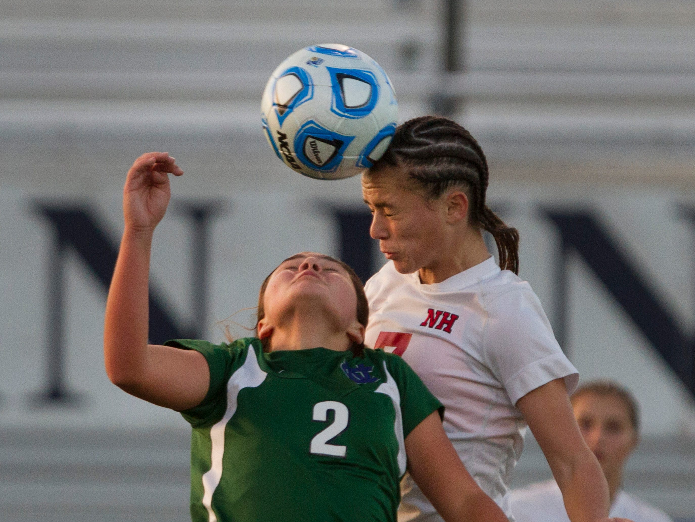 Colts Neck's battles for a Kristen Gambardella headball with Northern Hightlands Madison Kahn during second half action. Colt Necks Girls Soccer vs Northern Highlands in NJSIAA State Group III Championship at Kean University on November 21, 2015 in Union, NJ.