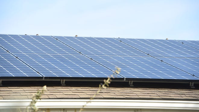 A closeup of the solar panels on a home in the Town of Poughkeepsie.