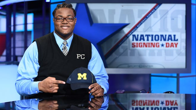 Rashan Gary announcing his commitment during National Signing Day on the set of SportsCenter