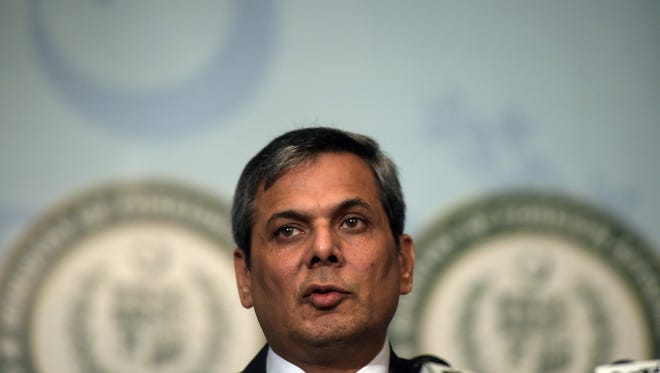 """Spokesman of the Pakistan's Foreign Ministry Nafees Zakaria speaks at a press conference in Islamabad on September 29, 2016. Pakistan's Prime Minister Nawaz Sharif condemned the """"naked aggression of Indian forces"""" on Sept. 29 after two Pakistani soldiers were killed in firing along the Line of Control that divides the disputed territory of Kashmir."""