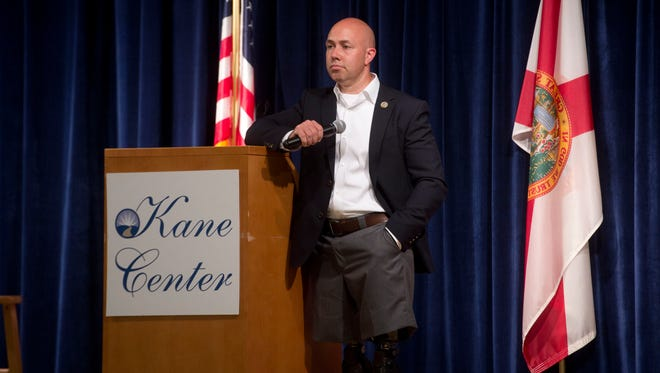 U.S. Rep. Brian Mast at a 2017 town hall meeting in Stuart.