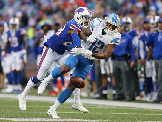 Bills E.J. Gaines knocks away a pass intended for Lions