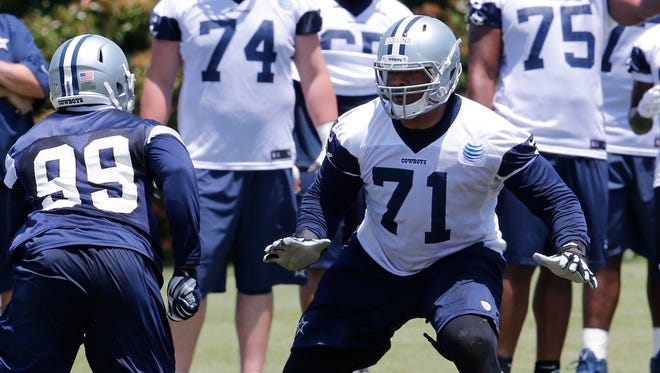 Dallas rookie La'el Collins (71) works against end Ryan Russell during minicamp on May 27.