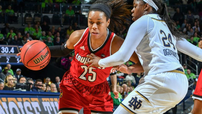 Feb 6, 2017; South Bend, IN, USA; Louisville Cardinals guard Asia Durr (25) dribbles as Notre Dame Fighting Irish guard Arike Ogunbowale (24) defends in the first half at the Purcell Pavilion. Mandatory Credit: Matt Cashore-USA TODAY Sports