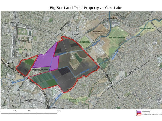 The purple shaded area represents the 73-acres acquired.
