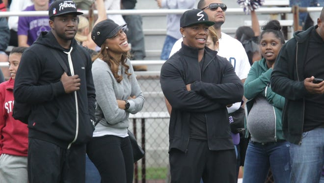 Ray Rice and his wife Janay Rice attend the New Rochelle football game at New Rochelle High School on Sept. 13, 2014.