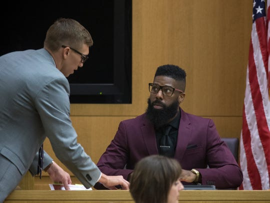 Erik Hood (right) testifies Sept. 18, 2017, in Maricopa