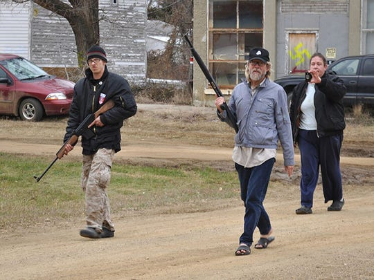 "Neo Nazi Craig Cobb and a fellow thinker are recorded as they conduct an armed patrol of the streets in the documentary ""Welcome to Leith."""