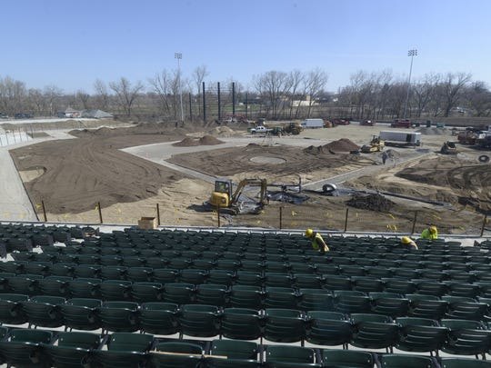 Work progresses on Jimmy John's Field to be ready for the United Shore Professional Baseball League's season opener on Memorial Day.