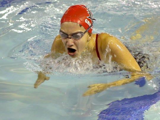 Lakeland freshman Rachel Griegel swims the breaststroke