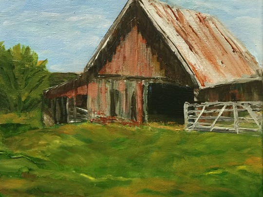 """Arkansas Barn"" is one of over 300 original art works in the Mystery Art Fest starting at 9 a.m. today at the NorthLight Gallery in the Kemp Center for the Arts."
