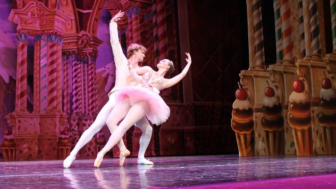 """Ashlen Loskot dances as the Sugar Plum Fairy with David Sanders as her Cavalier, in the 55th anniversary production of """"The Nutcracker"""" by the Wichita Falls Ballet Theatre Saturday, Dec. 2, 2017."""