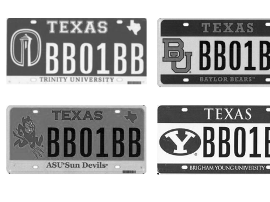 Appended to Justice Samuel Alito's opinion were examples of Texas vanity plates. The Arizona State plate is pictured, the familiar Sparky logo on the left, the words ASU Sun Devils at the bottom.
