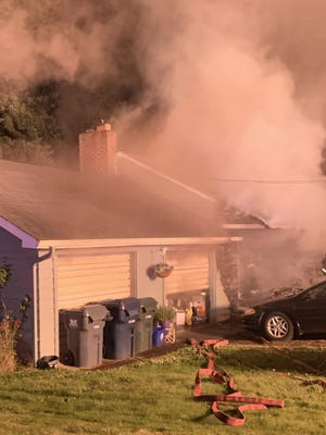 Crews responded to a blaze on the 1800 block of Todd Street to find heavy flames in the front of the Eugene home.