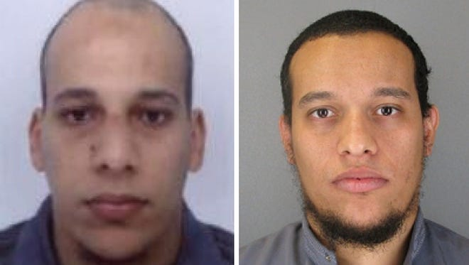 Suspects Cherif Kouachi, left, and his brother Said Kouachi, who are wanted in connection with an attack at a satirical weekly in the French capital that killed at least 12 people.