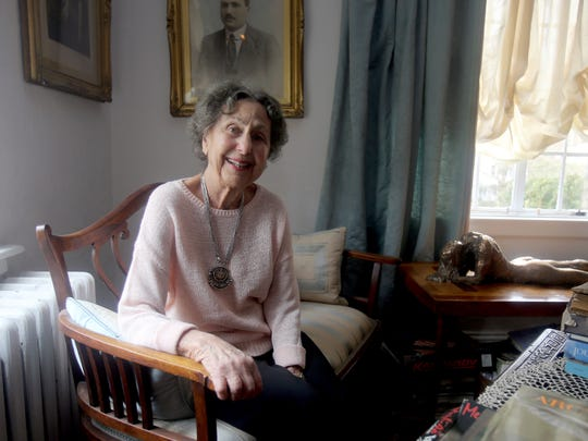 Sally Weinraub, photographed at her home in Larchmont April 1, 2016. The retired attorney has just published four mystery novels to coincide with her 95th birthday, which was March 29th.