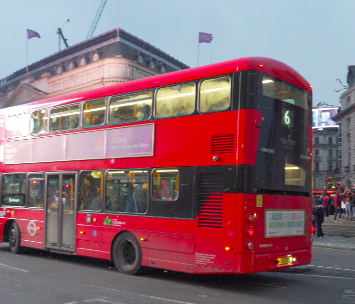 Piccadilly Circus, where Harry, Ron and Hermione had a near-miss with a double-decker bus.