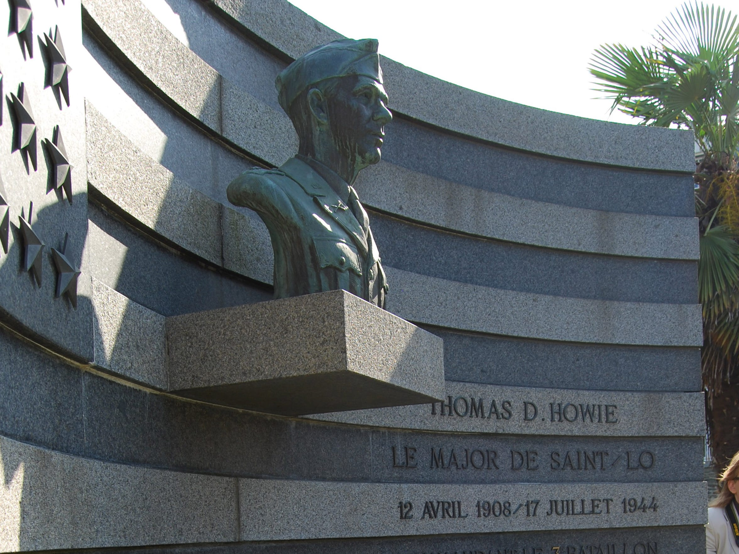 """The monument honoring Thomas D. Howie, aka. """"The Major of St. Lo,"""" in St. Lo, France."""