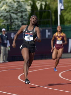 Lynna Irby of Georgia wins women's 400m heat in 50.11 during the NCAA Track and Field championships at Hayward Field.