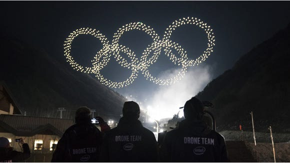 The Intel drone light show team from the Olympic Winter