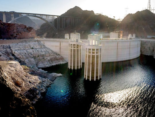 Hoover Dam as seen in April of 2014. At that time the