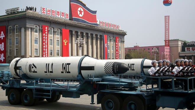 In this Saturday, April 15, 2017, file photo, a submarine-launched ballistic missile is displayed in Kim Il Sung Square during a military parade in Pyongyang, North Korea, to celebrate the 105th birth anniversary of Kim Il Sung, the country's late founder and grandfather of current ruler Kim Jong Un.